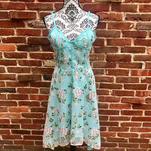 Dresses & Skirts - BLUE W/ PINK LACE FLOWER Corset Style Hi Low Dress